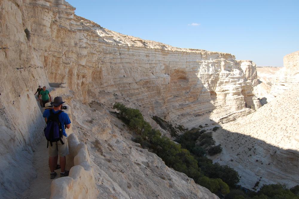 Cliffside path in Nahal Zin