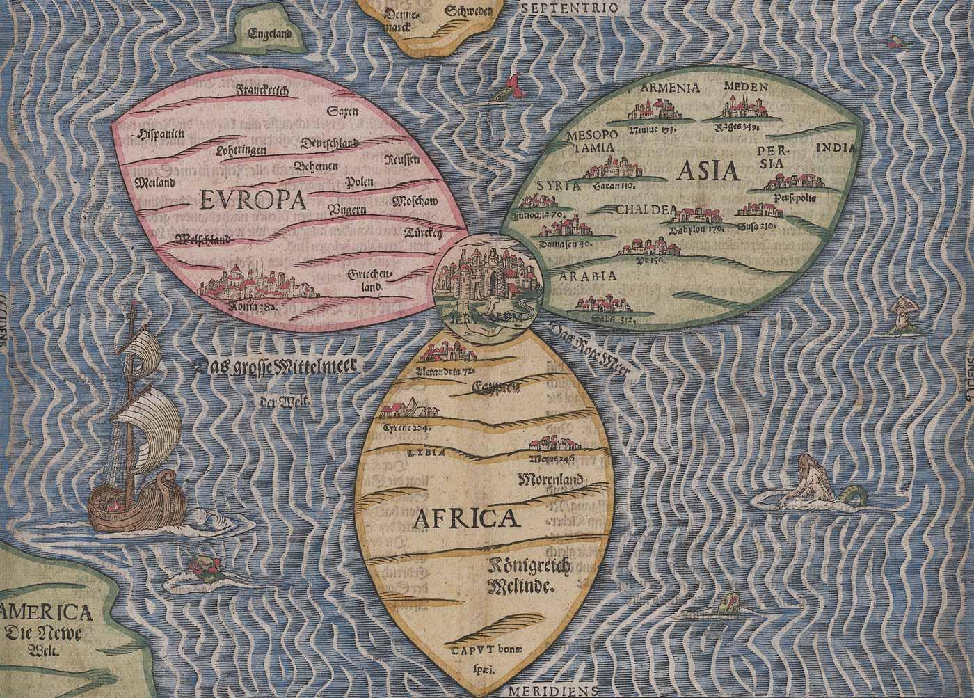 Historical clover leaf map with Jerusalem at the center.