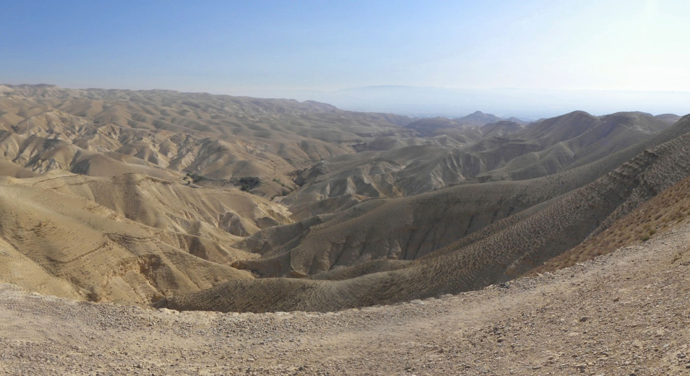 Photo of a vast, arid dessert in the Judean wilderness.